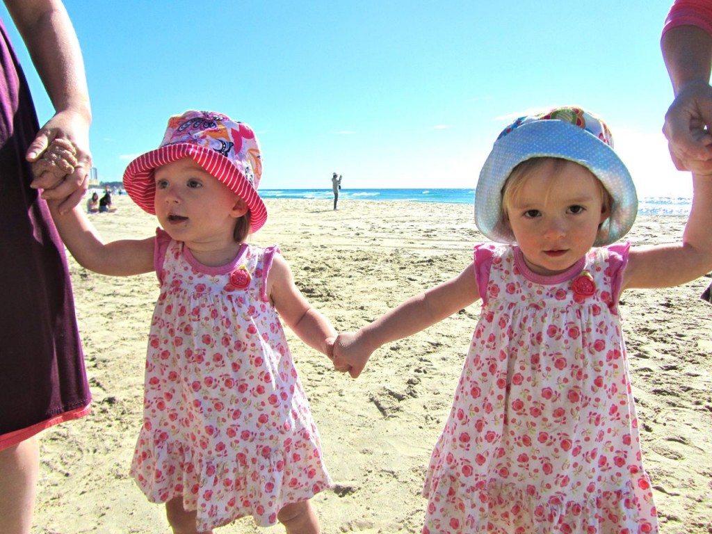 Twins walking