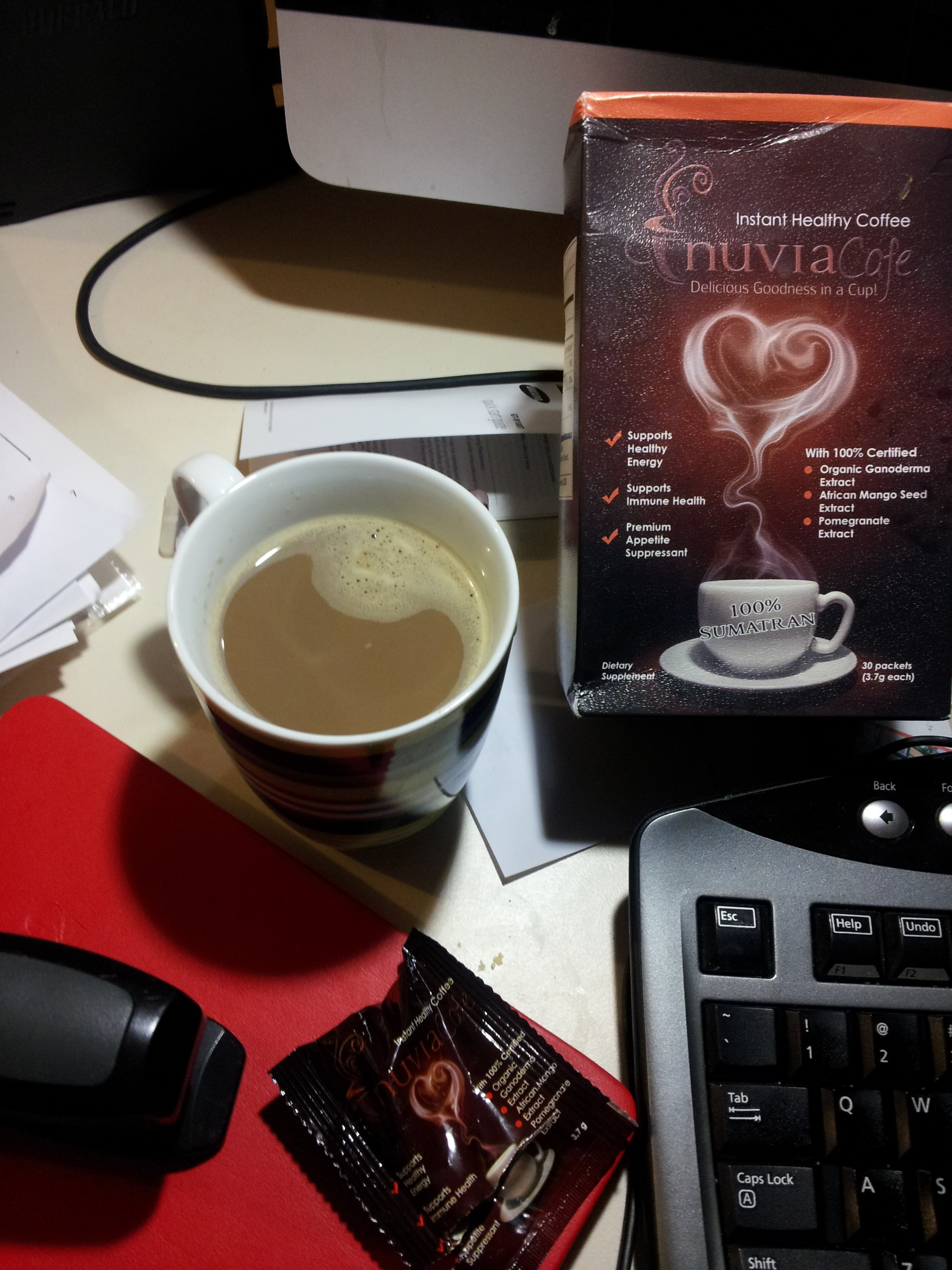 Ganoderma in coffee from Nuvia Café the aroma caffe as instant health coffee